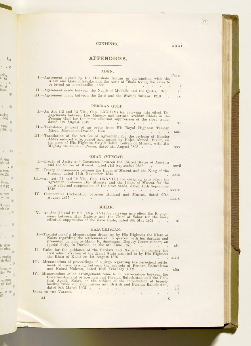 'A collection of treaties, engagements and sanads relating to India and neighbouring countries [...] Vol XI containing the treaties, & c., relating to Aden and the south western coast of Arabia, the Arab principalities in the Persian Gulf, Muscat (Oman), Baluchistan and the North-West Frontier Province' [17r] (42/822)