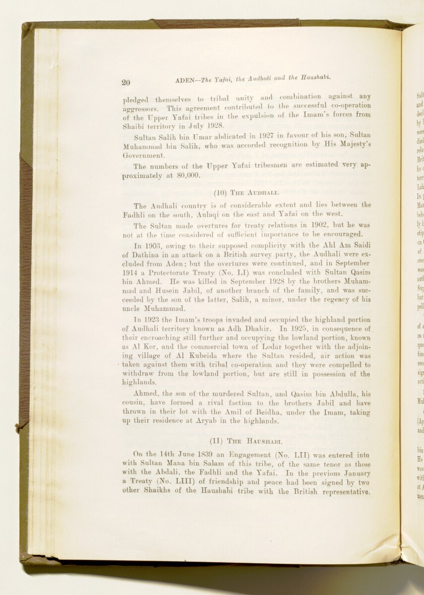 'A collection of treaties, engagements and sanads relating to India and neighbouring countries [...] Vol XI containing the treaties, & c., relating to Aden and the south western coast of Arabia, the Arab principalities in the Persian Gulf, Muscat (Oman), Baluchistan and the North-West Frontier Province' [27v] (63/822)