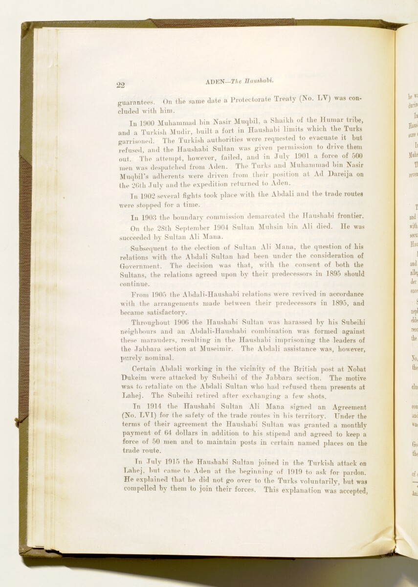 'A collection of treaties, engagements and sanads relating to India and neighbouring countries [...] Vol XI containing the treaties, & c., relating to Aden and the south western coast of Arabia, the Arab principalities in the Persian Gulf, Muscat (Oman), Baluchistan and the North-West Frontier Province' [28v] (65/822)