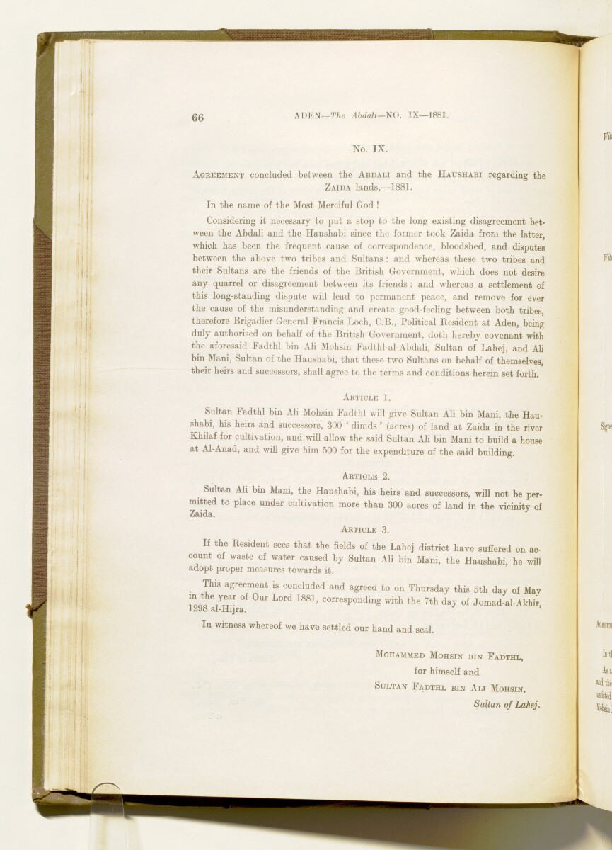 'A collection of treaties, engagements and sanads relating to India and neighbouring countries [...] Vol XI containing the treaties, & c., relating to Aden and the south western coast of Arabia, the Arab principalities in the Persian Gulf, Muscat (Oman), Baluchistan and the North-West Frontier Province' [50v] (109/822)