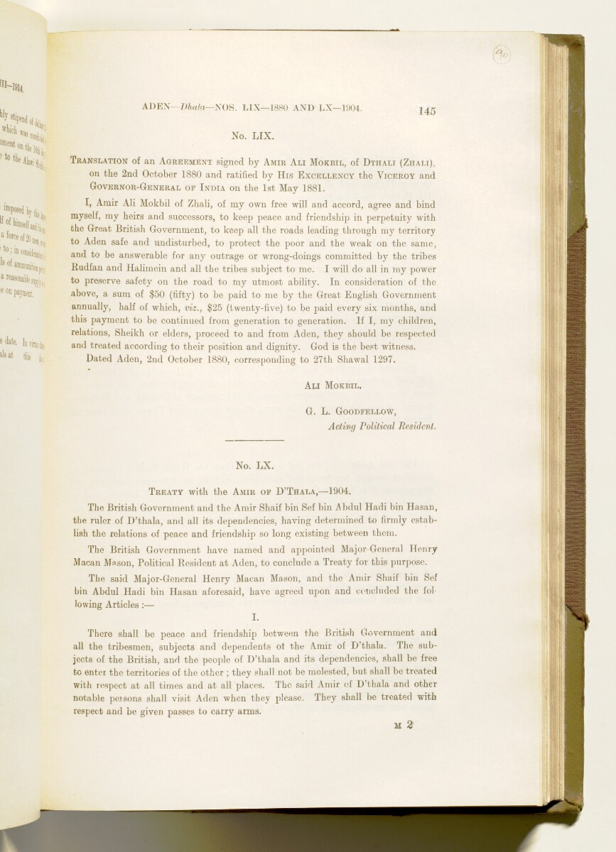 'A collection of treaties, engagements and sanads relating to India and neighbouring countries [...] Vol XI containing the treaties, & c., relating to Aden and the south western coast of Arabia, the Arab principalities in the Persian Gulf, Muscat (Oman), Baluchistan and the North-West Frontier Province' [90r] (188/822)