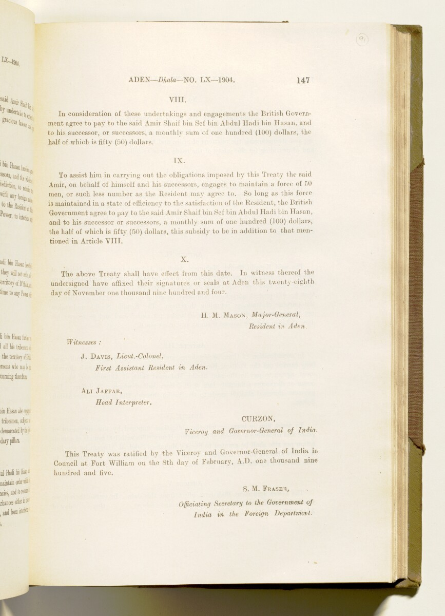 'A collection of treaties, engagements and sanads relating to India and neighbouring countries [...] Vol XI containing the treaties, & c., relating to Aden and the south western coast of Arabia, the Arab principalities in the Persian Gulf, Muscat (Oman), Baluchistan and the North-West Frontier Province' [91r] (190/822)