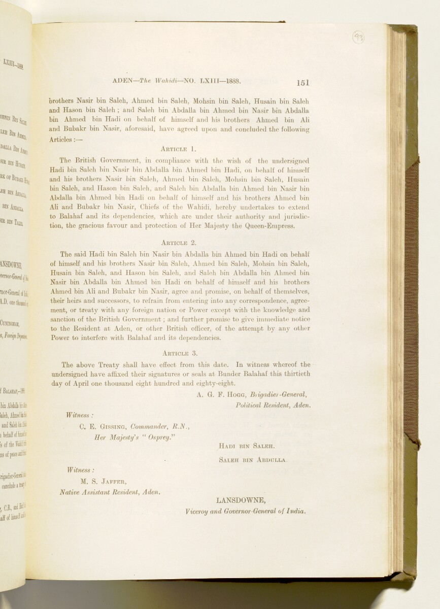 'A collection of treaties, engagements and sanads relating to India and neighbouring countries [...] Vol XI containing the treaties, & c., relating to Aden and the south western coast of Arabia, the Arab principalities in the Persian Gulf, Muscat (Oman), Baluchistan and the North-West Frontier Province' [93r] (194/822)