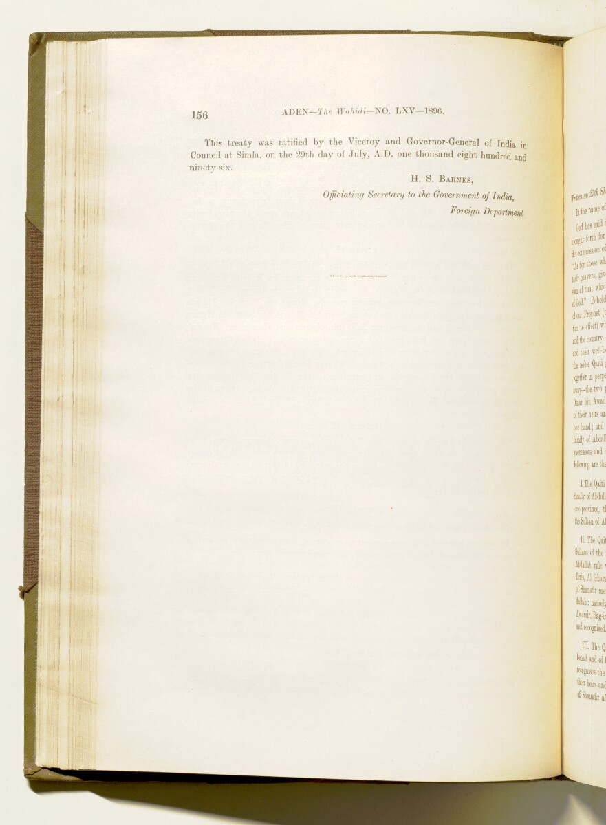 'A collection of treaties, engagements and sanads relating to India and neighbouring countries [...] Vol XI containing the treaties, & c., relating to Aden and the south western coast of Arabia, the Arab principalities in the Persian Gulf, Muscat (Oman), Baluchistan and the North-West Frontier Province' [95v] (199/822)