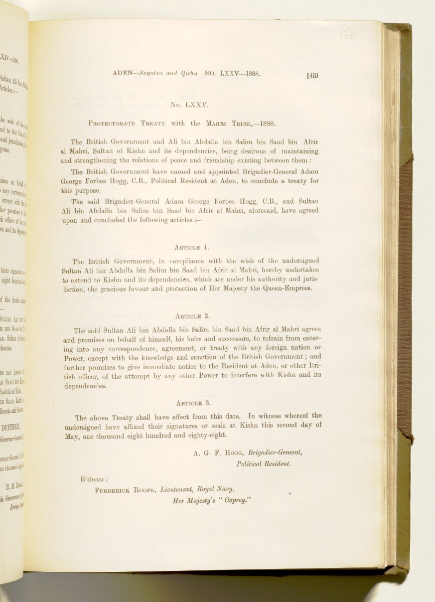 'A collection of treaties, engagements and sanads relating to India and neighbouring countries [...] Vol XI containing the treaties, & c., relating to Aden and the south western coast of Arabia, the Arab principalities in the Persian Gulf, Muscat (Oman), Baluchistan and the North-West Frontier Province' [‎102r] (212/822)