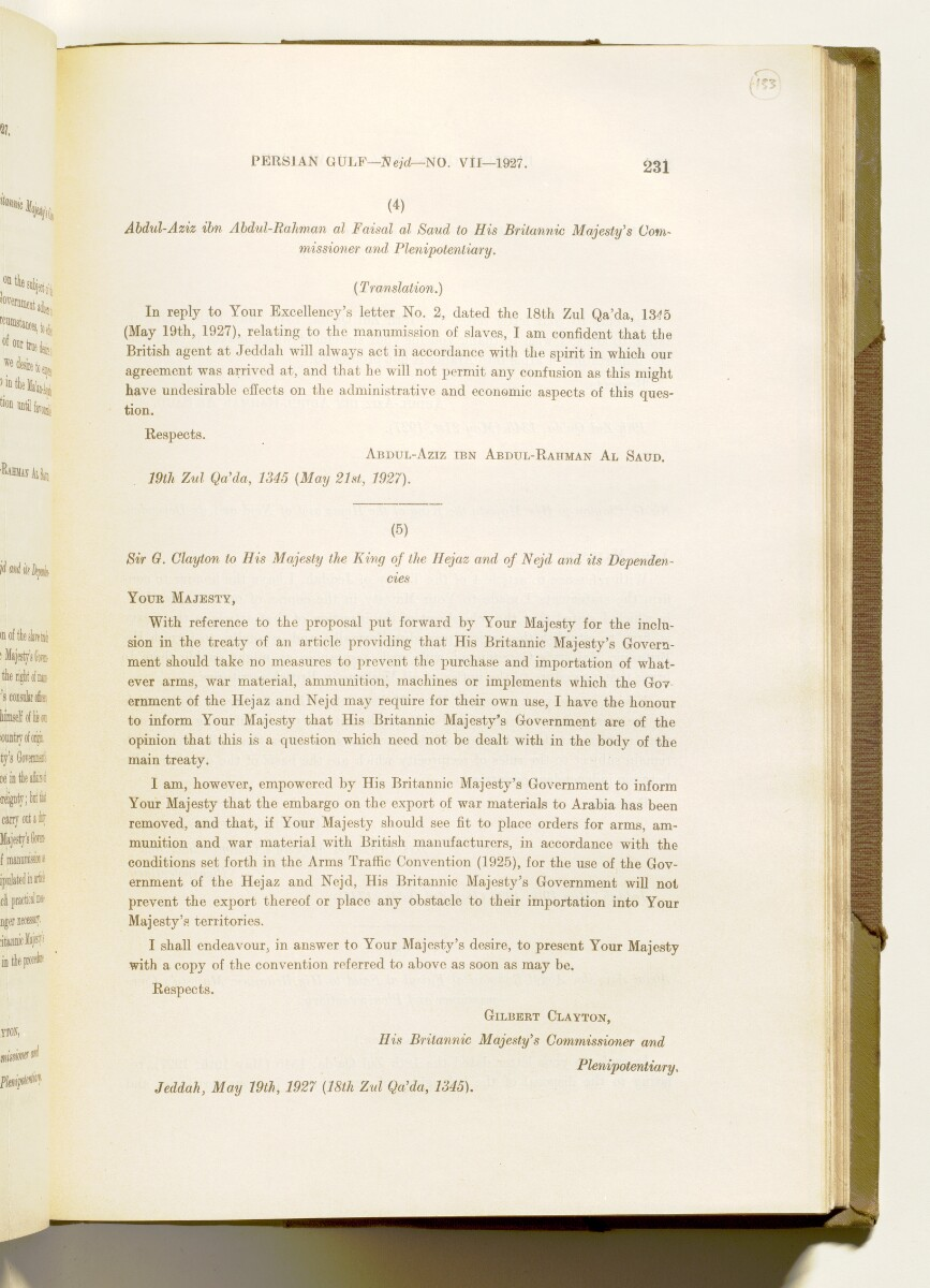 'A collection of treaties, engagements and sanads relating to India and neighbouring countries [...] Vol XI containing the treaties, & c., relating to Aden and the south western coast of Arabia, the Arab principalities in the Persian Gulf, Muscat (Oman), Baluchistan and the North-West Frontier Province' [‎133r] (274/822)
