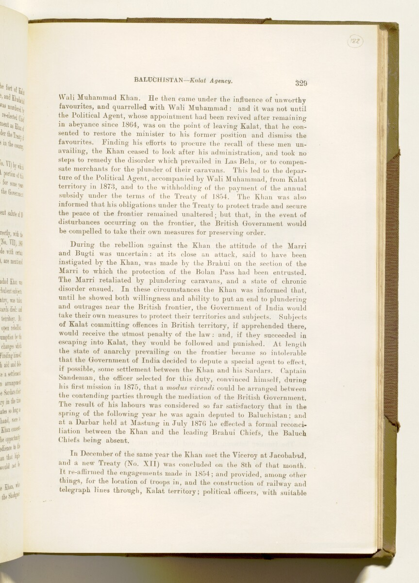'A collection of treaties, engagements and sanads relating to India and neighbouring countries [...] Vol XI containing the treaties, & c., relating to Aden and the south western coast of Arabia, the Arab principalities in the Persian Gulf, Muscat (Oman), Baluchistan and the North-West Frontier Province' [182r] (372/822)