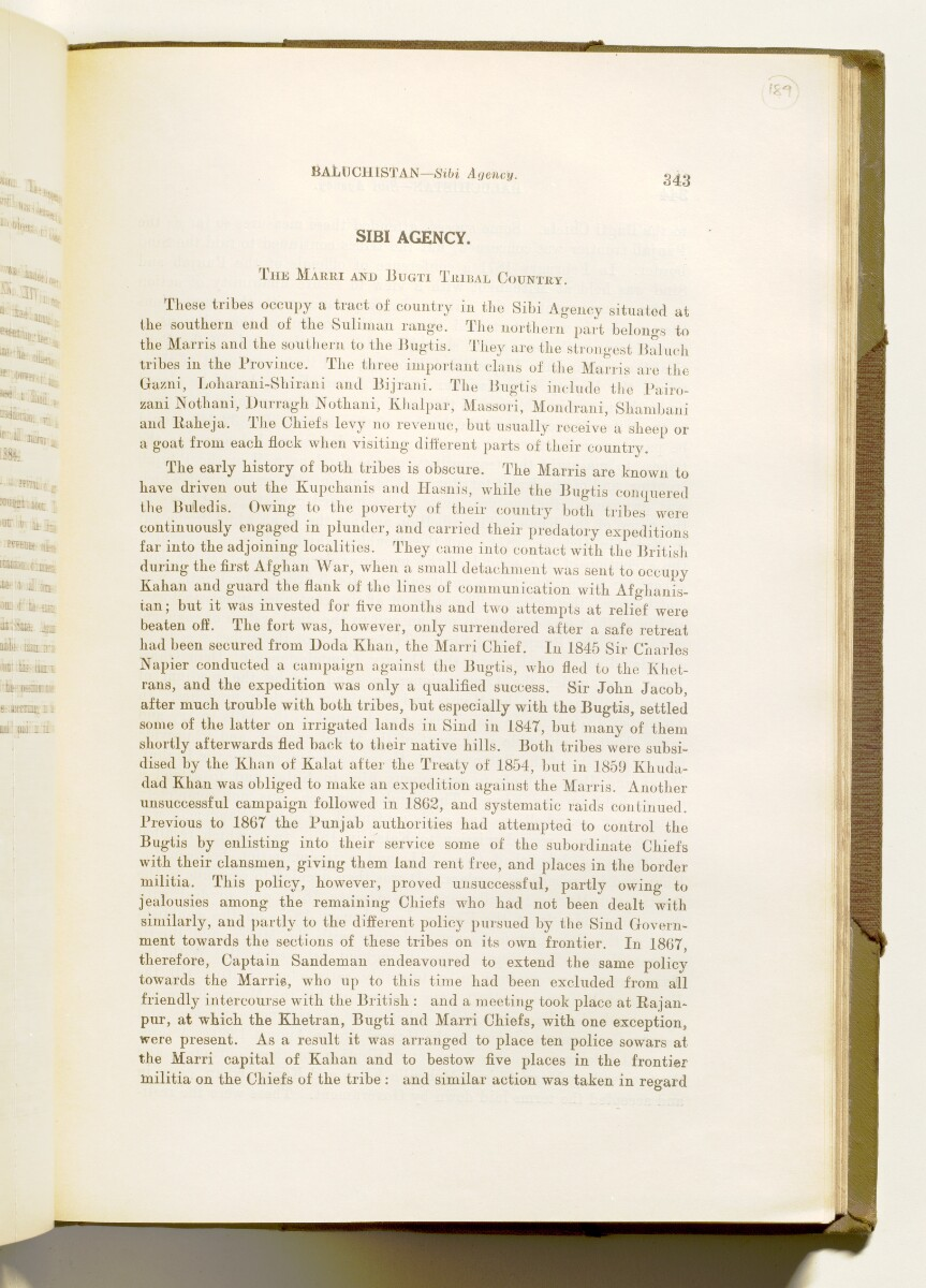 'A collection of treaties, engagements and sanads relating to India and neighbouring countries [...] Vol XI containing the treaties, & c., relating to Aden and the south western coast of Arabia, the Arab principalities in the Persian Gulf, Muscat (Oman), Baluchistan and the North-West Frontier Province' [189r] (386/822)
