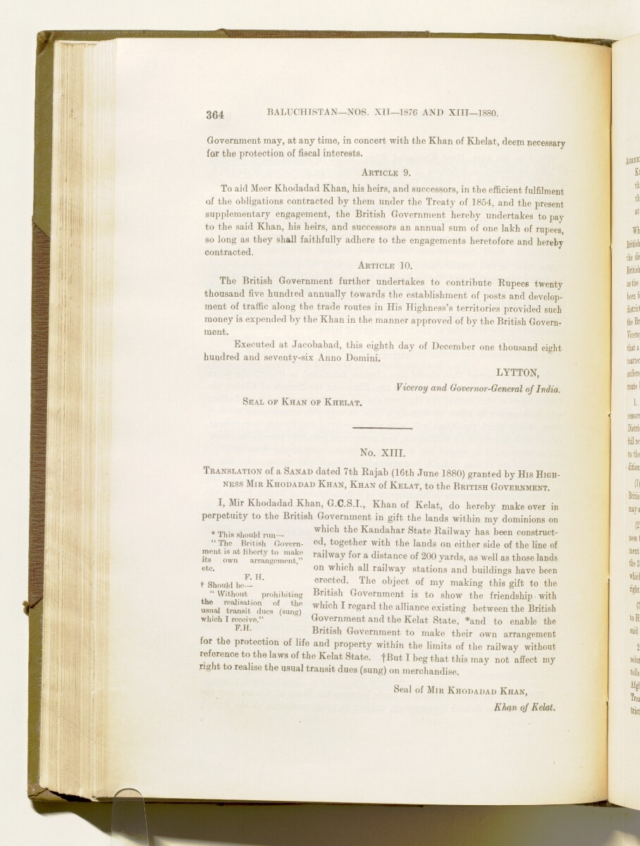 'A collection of treaties, engagements and sanads relating to India and neighbouring countries [...] Vol XI containing the treaties, & c., relating to Aden and the south western coast of Arabia, the Arab principalities in the Persian Gulf, Muscat (Oman), Baluchistan and the North-West Frontier Province' [199v] (407/822)