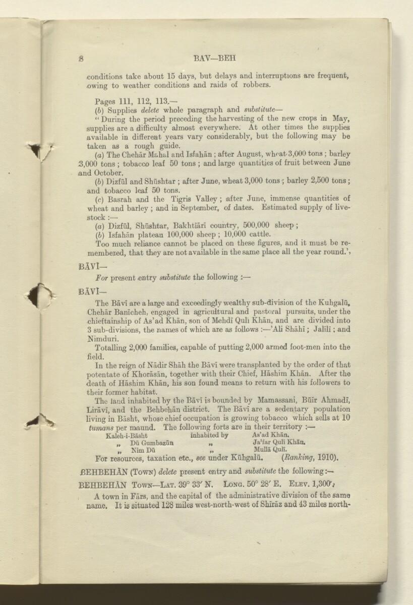 'CORRECTIONS TO GAZETTEER OF PERSIA. VOLUME III' [8r] (17/180)