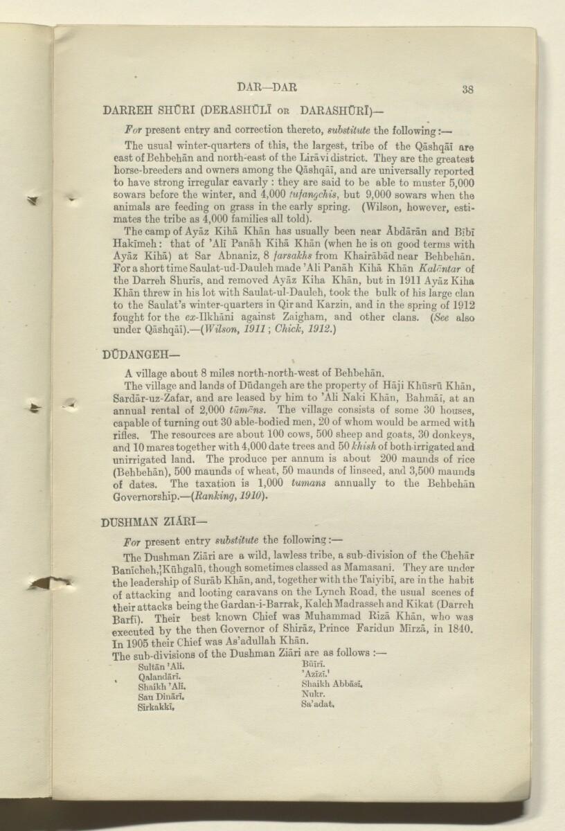 'CORRECTIONS TO GAZETTEER OF PERSIA. VOLUME III' [38r] (77/180)