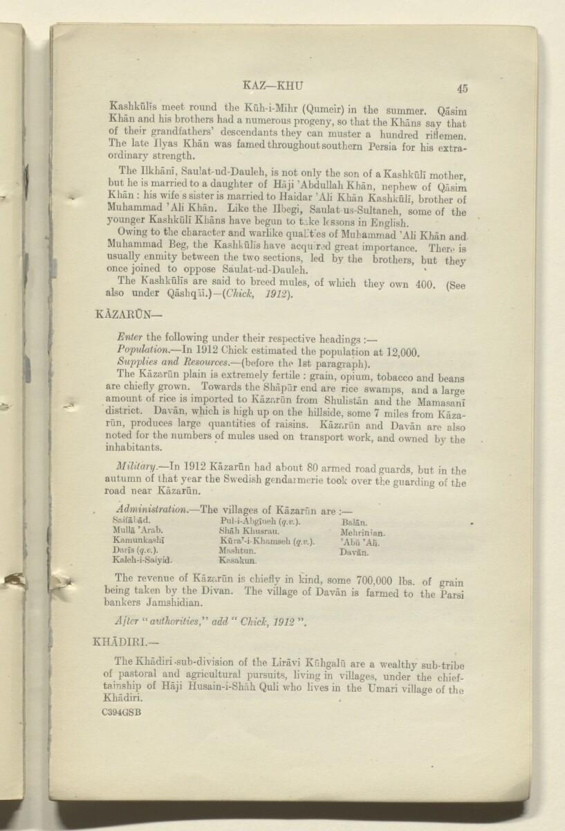 'CORRECTIONS TO GAZETTEER OF PERSIA. VOLUME III' [45r] (91/180)
