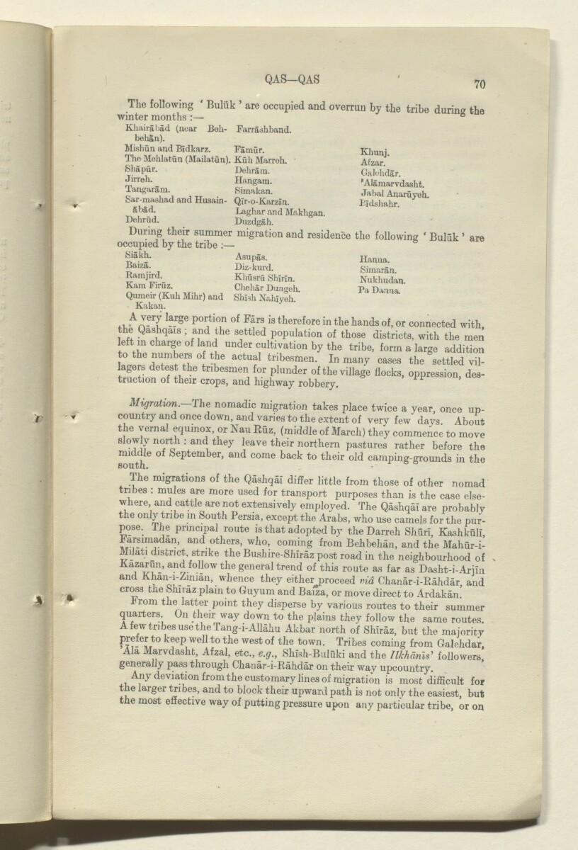 'CORRECTIONS TO GAZETTEER OF PERSIA. VOLUME III' [70r] (141/180)