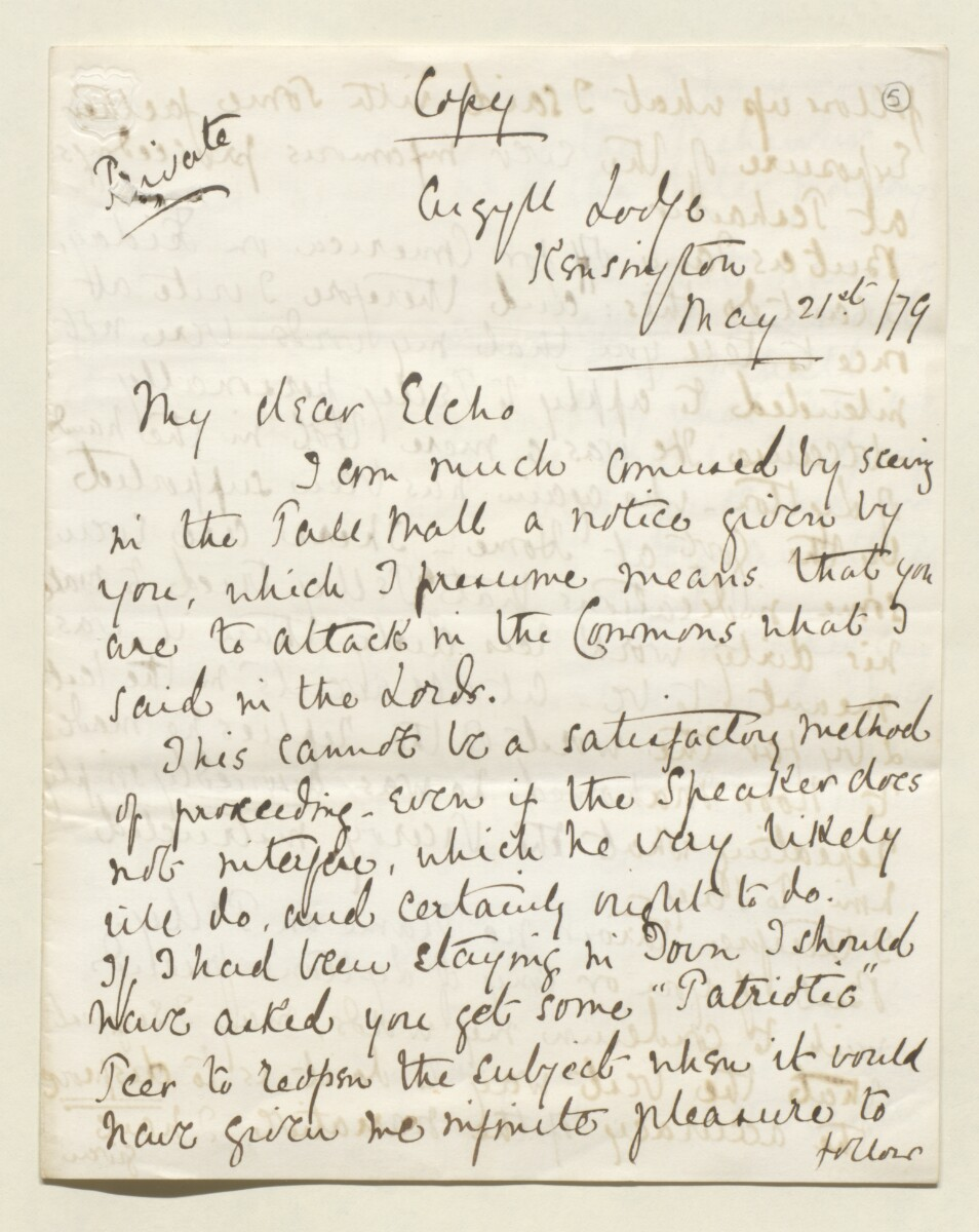 Letter from Lord Elcho to Lewis Pelly [‎5r] (5/12)