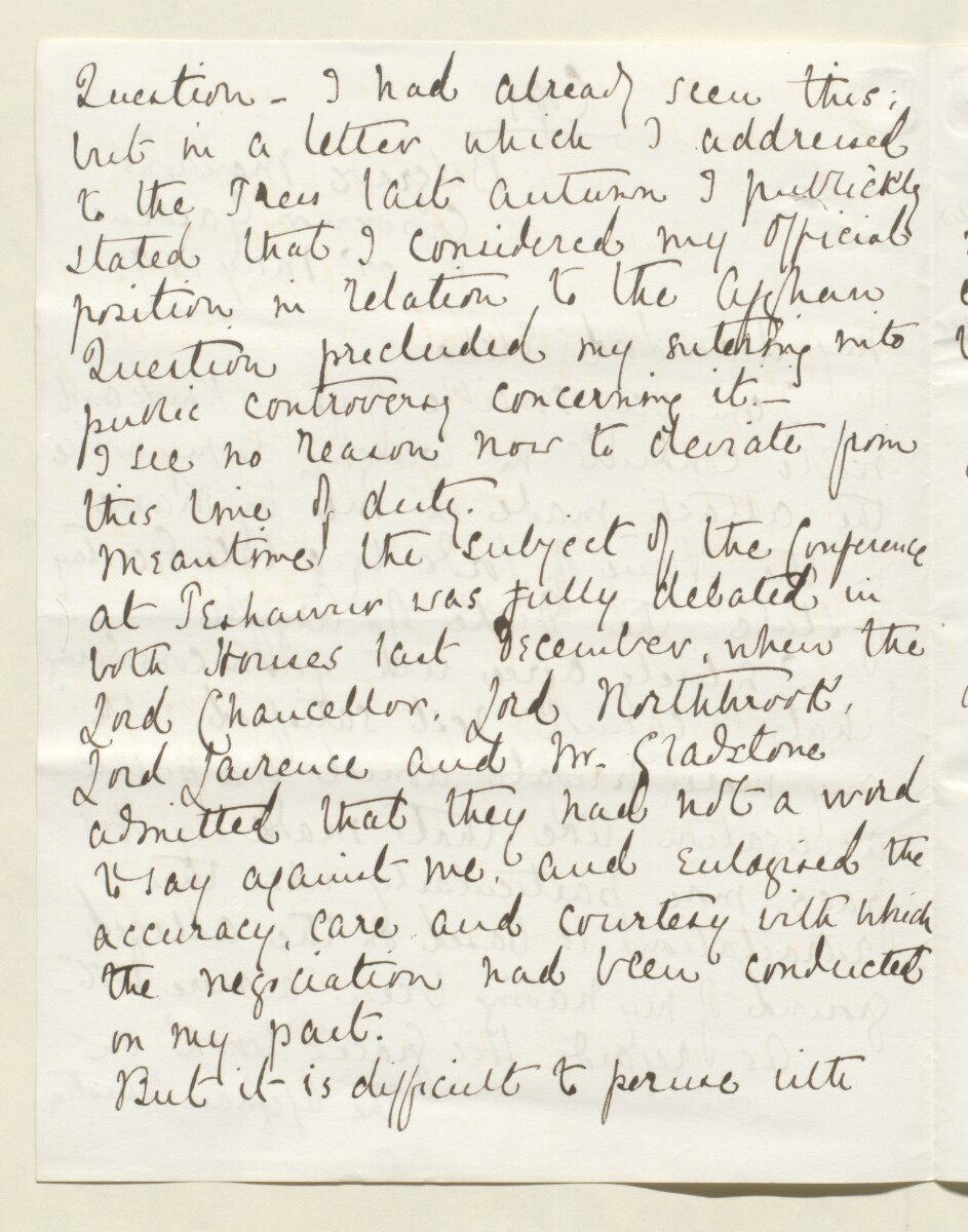 Letter from Lewis Pelly, Belgrave Mansions, Grosvenor Gardens to Lord Elcho [‎9v] (2/30)