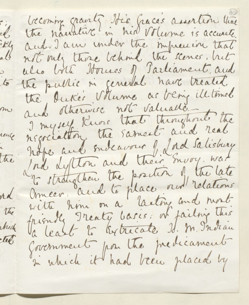 Letter from Lewis Pelly, Belgrave Mansions, Grosvenor Gardens to Lord Elcho [‎10r] (3/30)