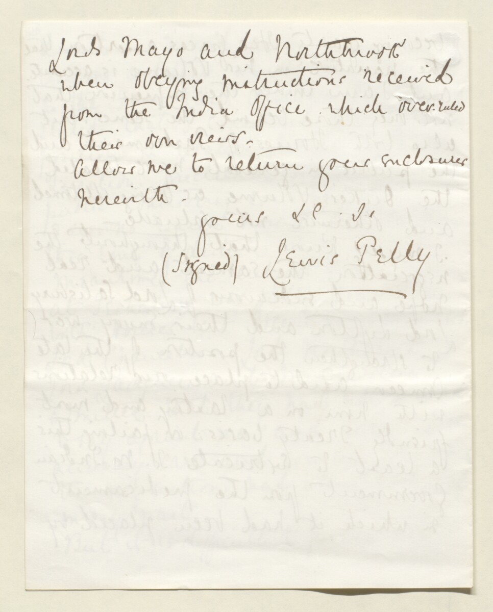 Letter from Lewis Pelly, Belgrave Mansions, Grosvenor Gardens to Lord Elcho [‎10v] (4/30)