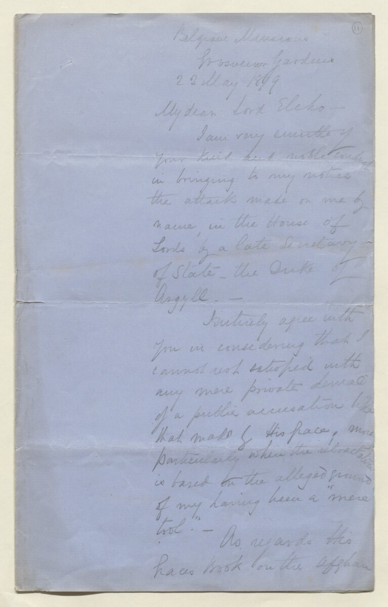Letter from Lewis Pelly, Belgrave Mansions, Grosvenor Gardens to Lord Elcho [‎11r] (5/30)