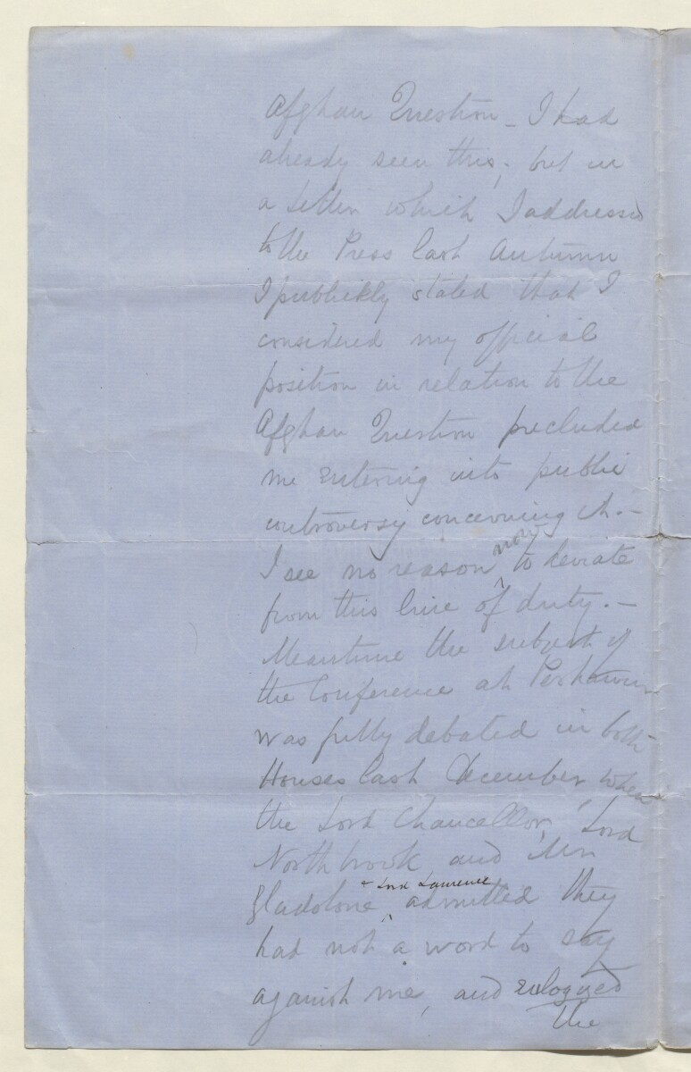 Letter from Lewis Pelly, Belgrave Mansions, Grosvenor Gardens to Lord Elcho [‎11v] (6/30)