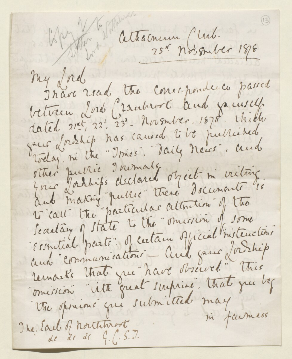 Letter from Lewis Pelly, Belgrave Mansions, Grosvenor Gardens to Lord Elcho [‎13r] (9/30)