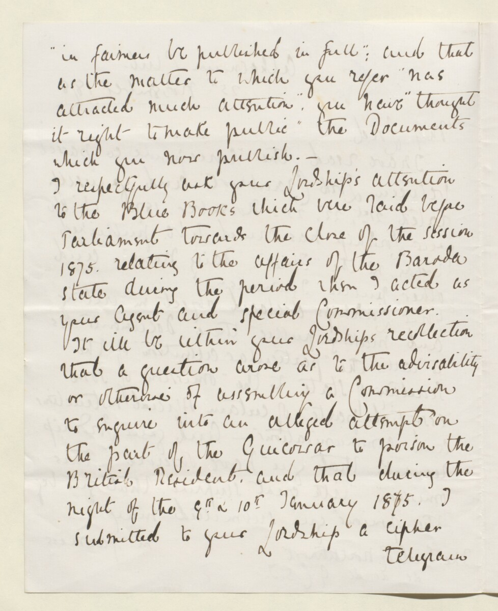Letter from Lewis Pelly, Belgrave Mansions, Grosvenor Gardens to Lord Elcho [‎13v] (10/30)