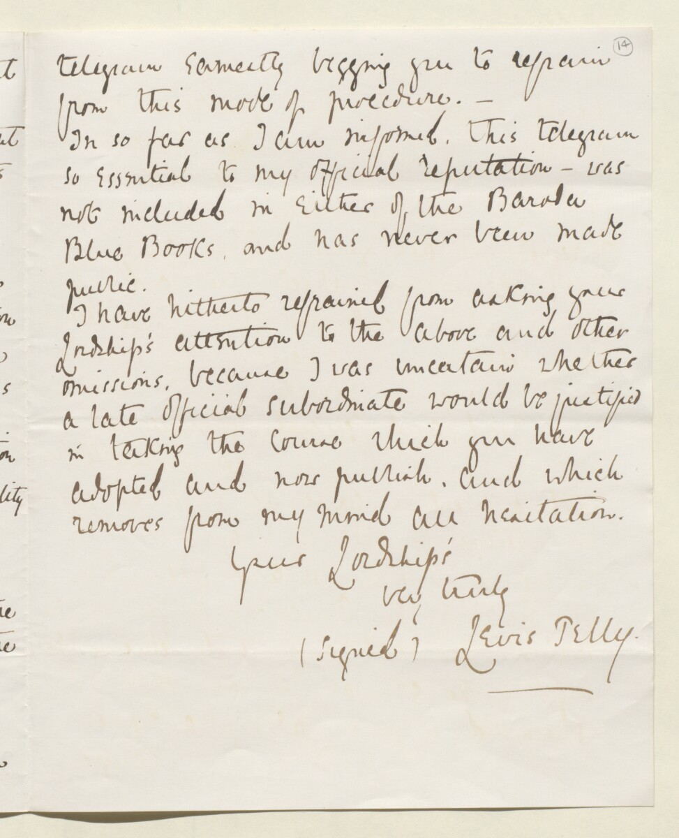 Letter from Lewis Pelly, Belgrave Mansions, Grosvenor Gardens to Lord Elcho [‎14r] (11/30)
