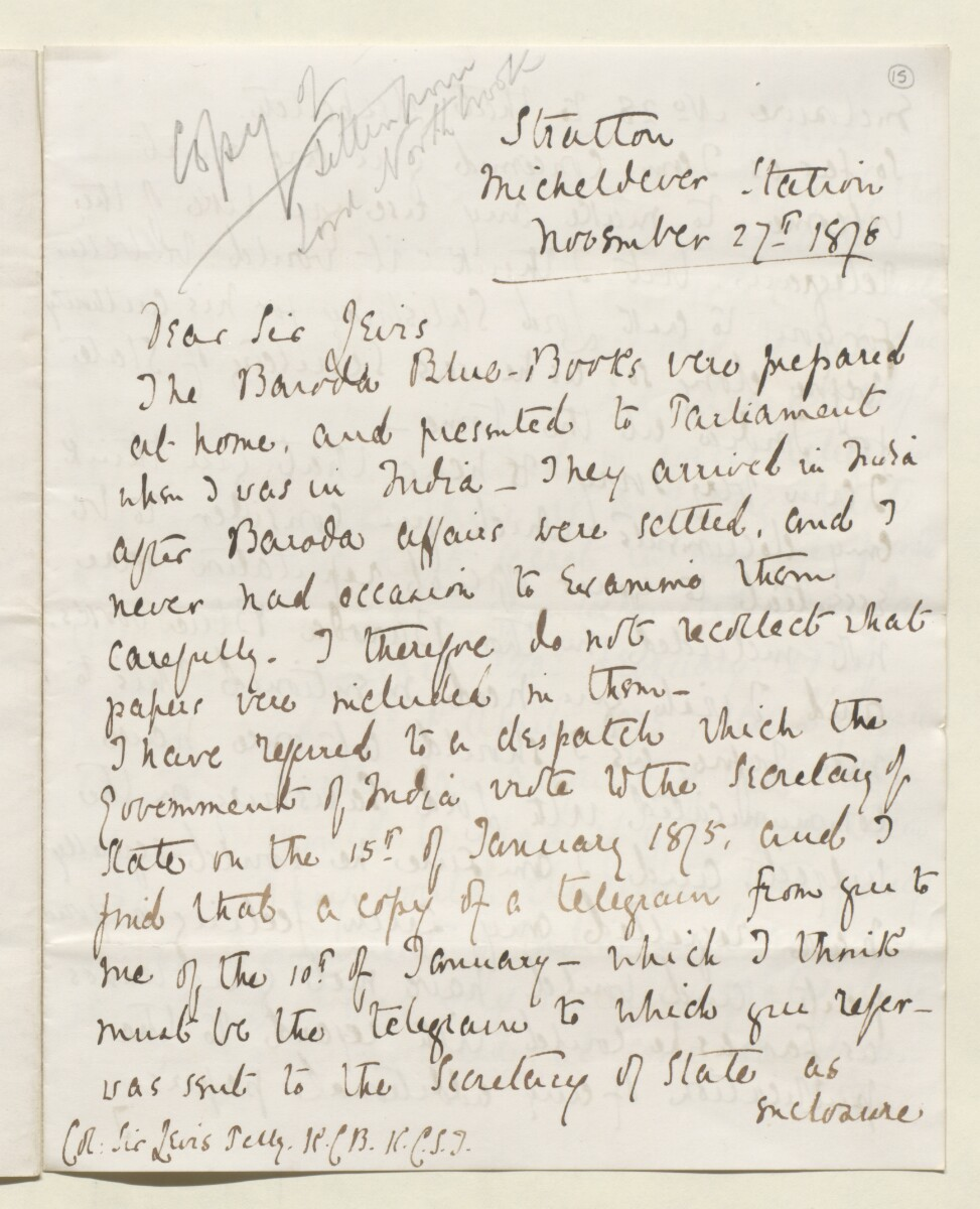Letter from Lewis Pelly, Belgrave Mansions, Grosvenor Gardens to Lord Elcho [‎15r] (13/30)