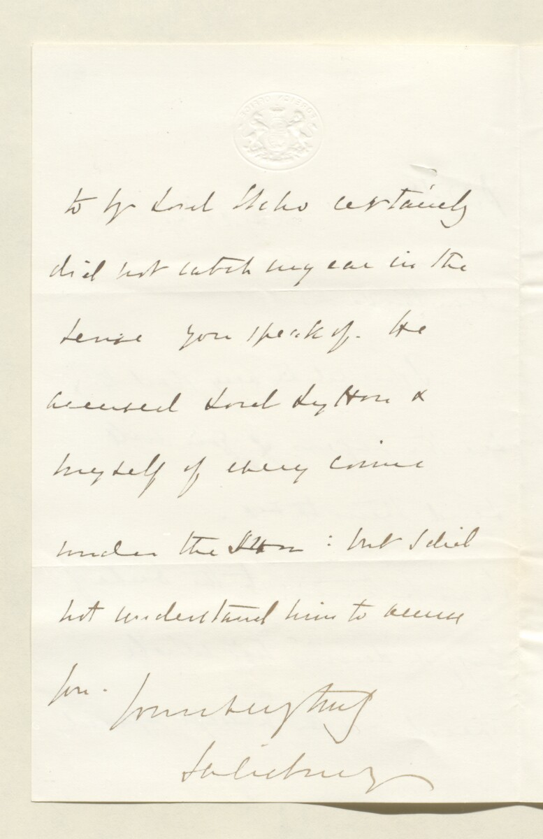 Letter from Lord Salisbury, Foreign Office to Lewis Pelly [‎28v] (2/4)