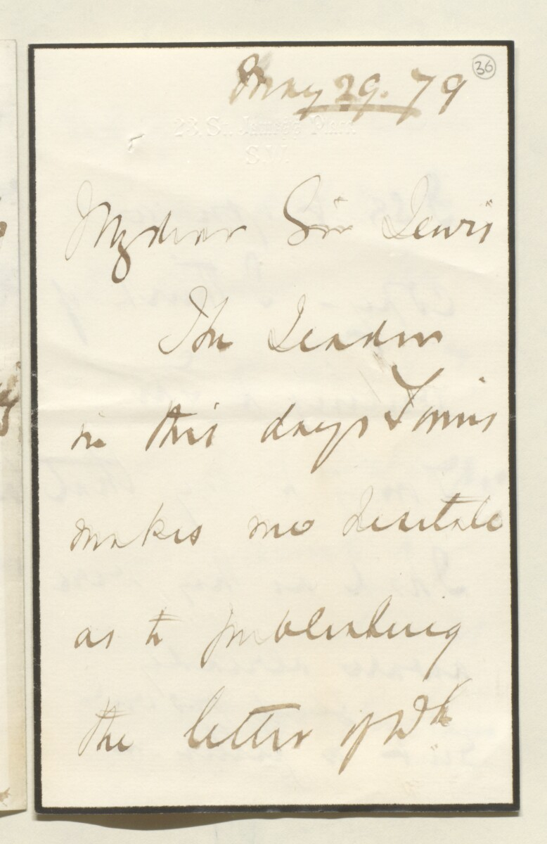 Letter from Lord Elcho, 23 St James's Place, to Lewis Pelly [‎36r] (1/4)