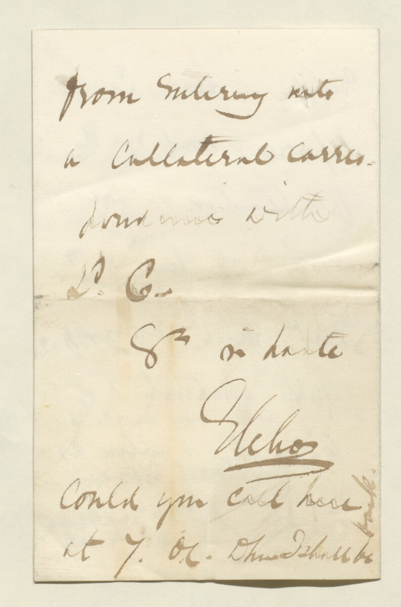 Letter from Lord Elcho, 23 St James's Place, to Lewis Pelly [‎37v] (4/4)