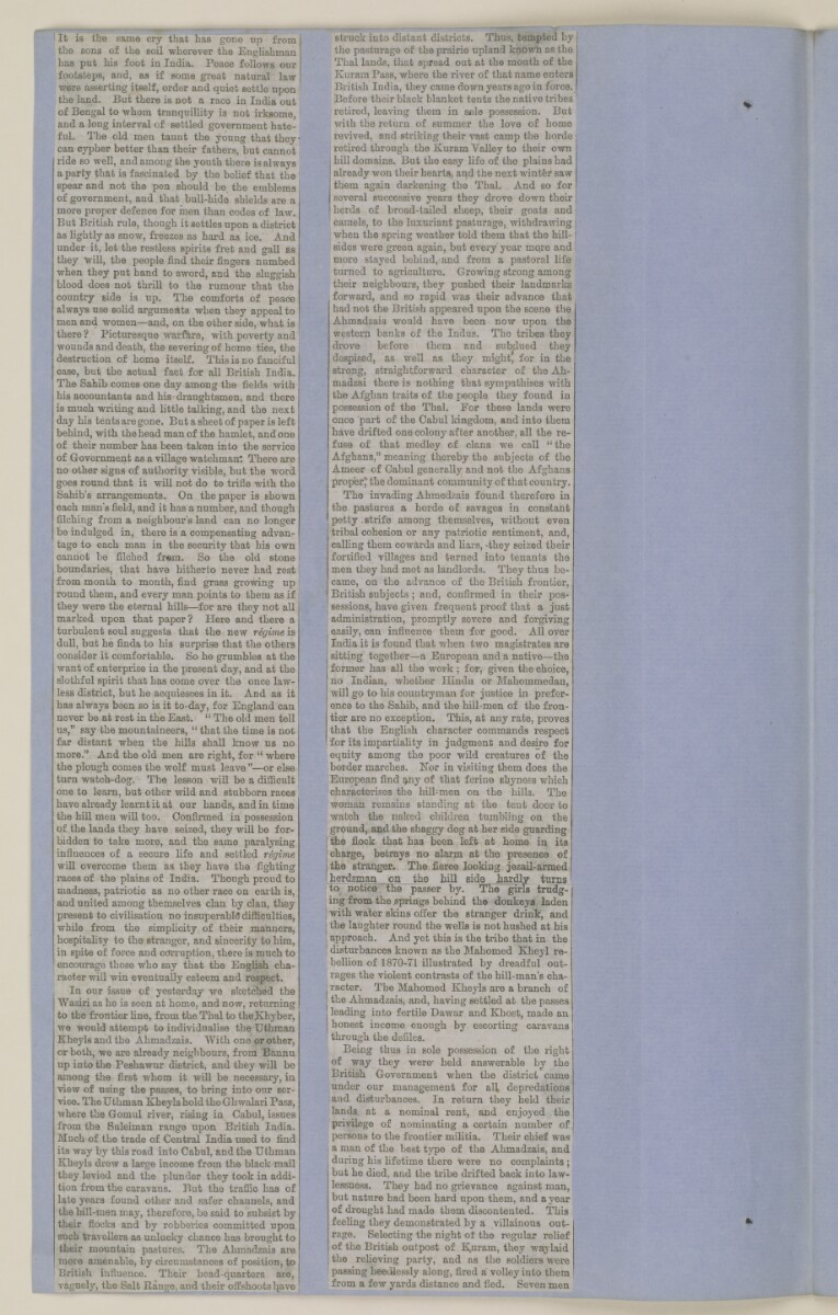 Scrapbook of newspaper cuttings about Afghanistan [ 79v