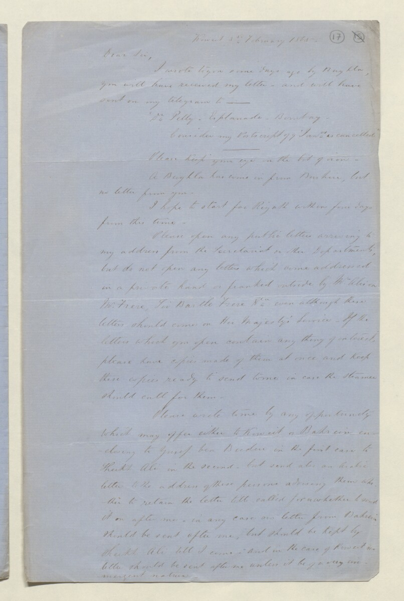 Letter from Lewis Pelly, Koweit [Kuwait] to [James Charles Edwards] [17r] (1/2)