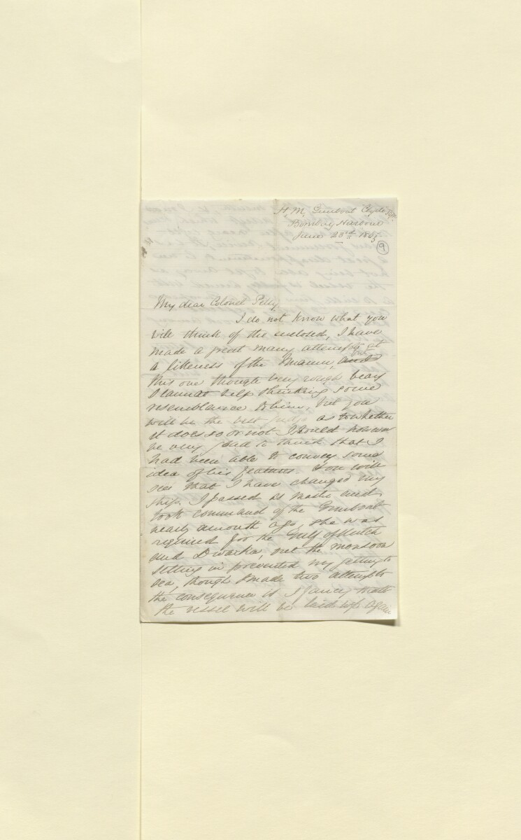 Letter from Edwin Dawes, HM Gunboat <em>Clyde,</em> Bombay Harbour to Lewis Pelly, Political Resident in the Persian Gulf, Bushire [&lrm;9r] (1/6)