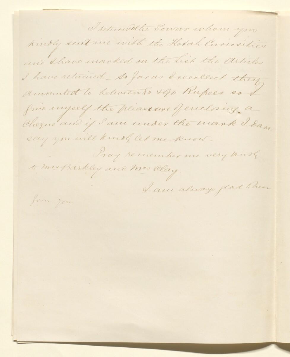 Letter from Lewis Pelly, Camp Agra to James Cavan Berkeley [ 60v