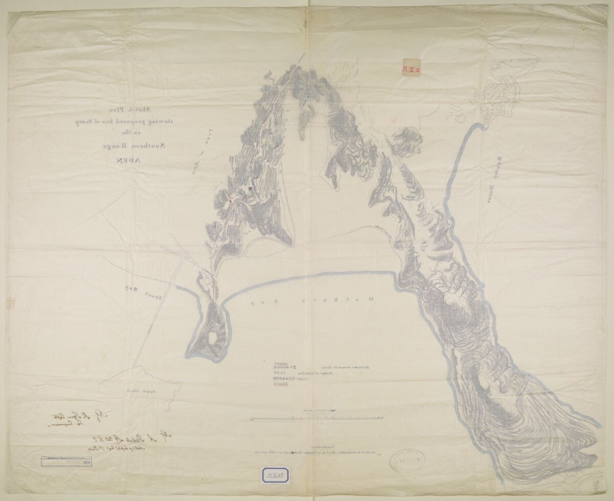 'Sketch Plan shewing proposed line of Scarp on the Southern Range, ADEN' [‎1v] (2/2)