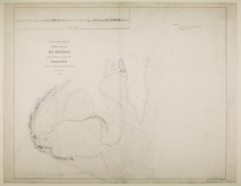 Trigonometrical plan of the harbour of El Biddah on the Arabian side of the Persian Gulf. By Lieuts. J. M. Guy and G. B. Brucks, H. C. Marine. Drawn by Lieut. M. Houghton. IOR/X/3694