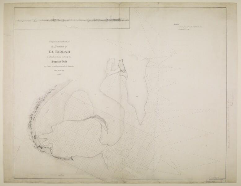 مخطط مثلثي لميناء البدع على الجانب العربي من الخليج العربي. من إعداد الضباط ج.م. جاي وجورج بارنز بروكس، البحرية التابعة لشركة الهند الشرقية، وقام بالرسم الضابط م. هوتن، IOR/X/3694