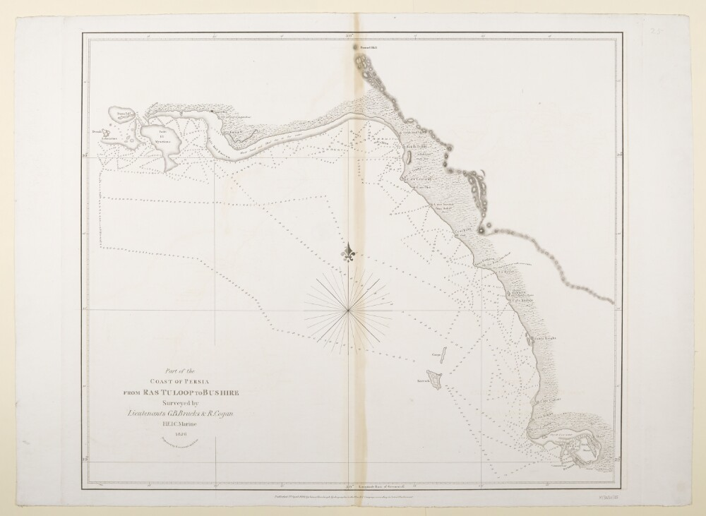 "<bdi class=""metadata-value"">'Part of the Coast of Persia from Ras Tuloop to Bushire Surveyed by Lieutenants G.B. Brucks & R.Cogan, H.E.I.C. Marine. 1826. Engraved by Bateman and Son'</bdi>"