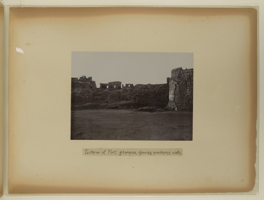 "<bdi class=""metadata-value"">'Exterior of Fort, Hormuz, showing mouldering walls.' Photographer: Unknown</bdi>"