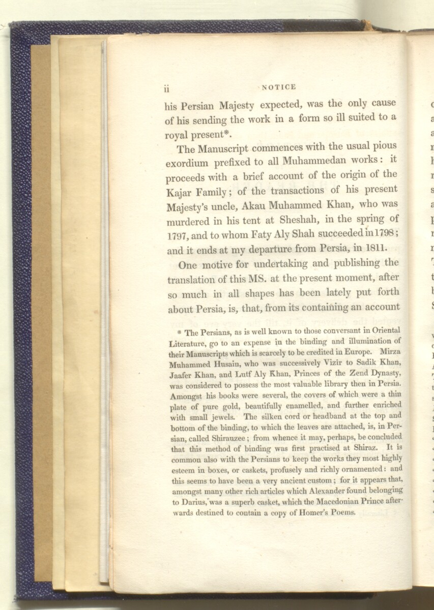 'The dynasty of the Kajars translated from the original Persian manuscript presented by His Majesty Faty Aly Shah to Sir Harford Jones Brydges ... to which is prefixed a succinct account of the history of Persia previous to that period illustarted with plates and a map of Western Persia' [2] (23/684)