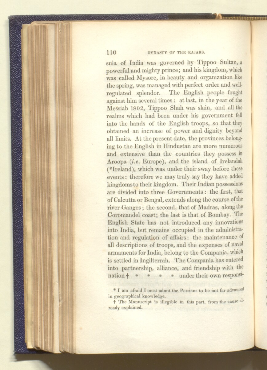 'The dynasty of the Kajars translated from the original Persian manuscript presented by His Majesty Faty Aly Shah to Sir Harford Jones Brydges ... to which is prefixed a succinct account of the history of Persia previous to that period illustarted with plates and a map of Western Persia' [110] (327/684)