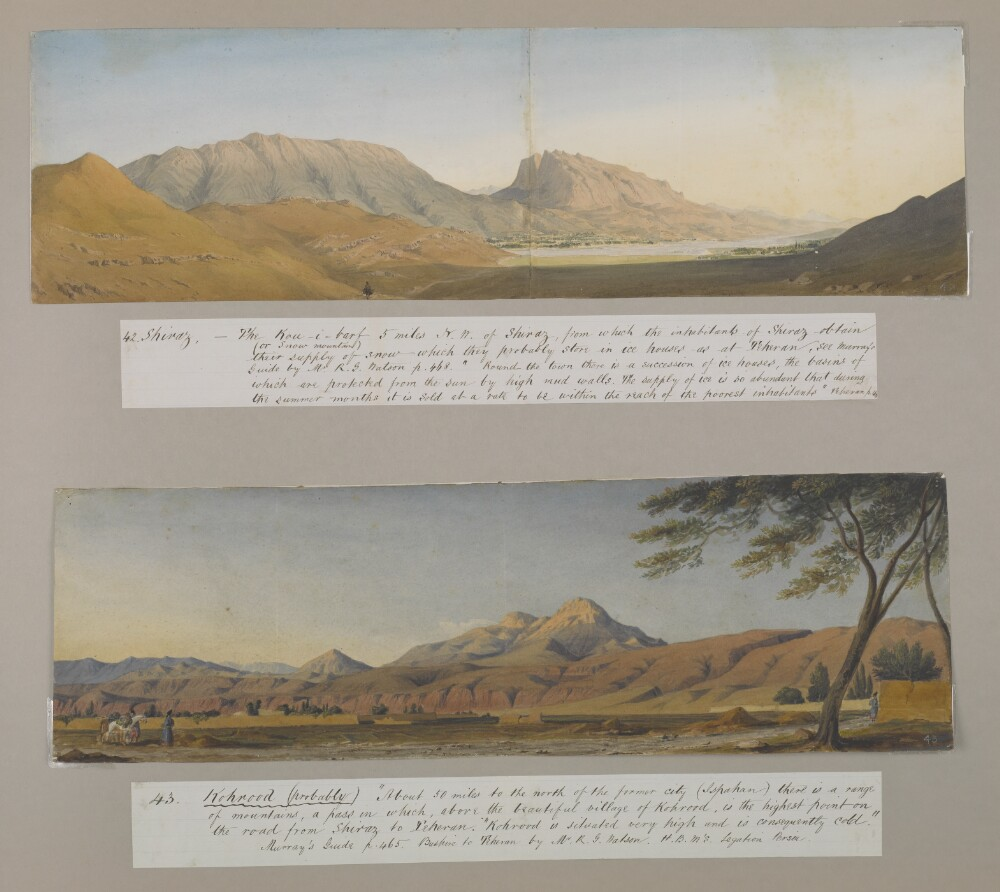 """<bdi class=""""metadata-value"""">'Abou-Shehr or Bushire, Persian Gulf' / 'On the road to Dalkin [Daliki] from Bushire showing the mirage' by Joseph D'Arcy (1780–1846)</bdi>"""