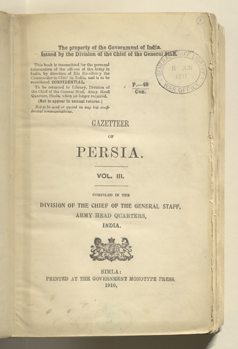 'GAZETTEER OF PERSIA. VOL. III.' [3r] (10/982)