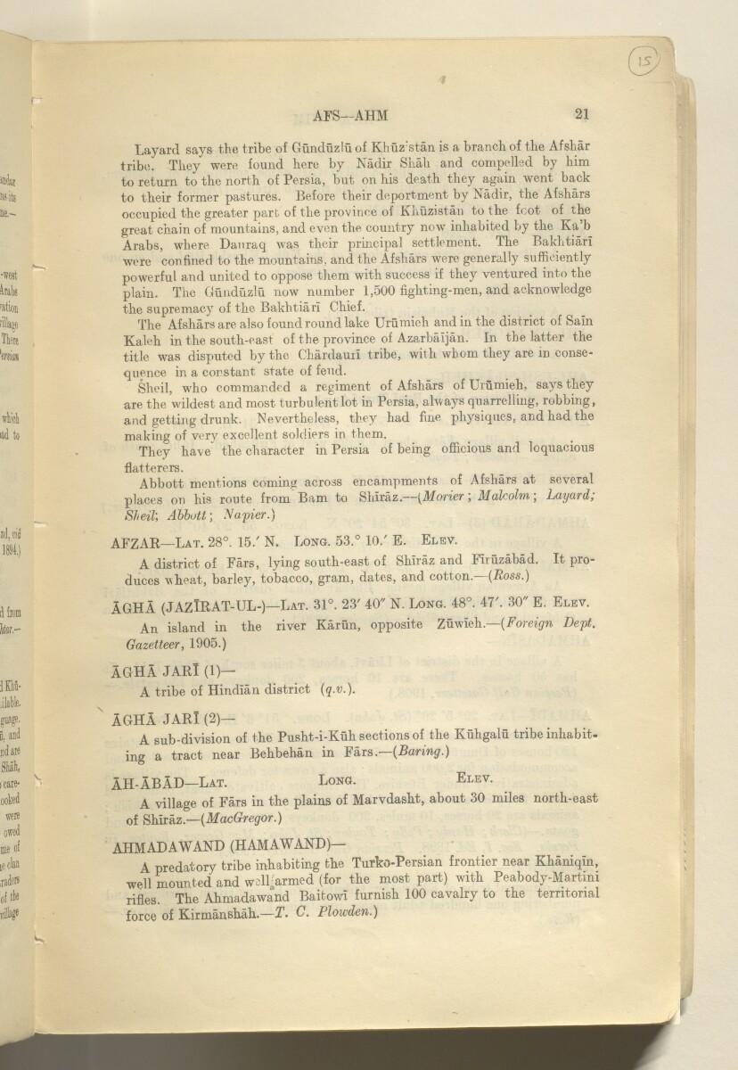'GAZETTEER OF PERSIA. VOL. III.' [15r] (34/982)