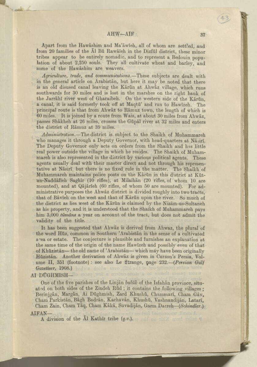 'GAZETTEER OF PERSIA. VOL. III. PART I: A to K' [43r] (90/1278)