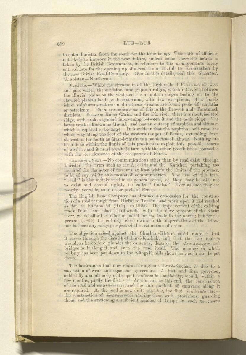 'GAZETTEER OF PERSIA. VOL. III. PART II: L to Z' [59v] (123/988)