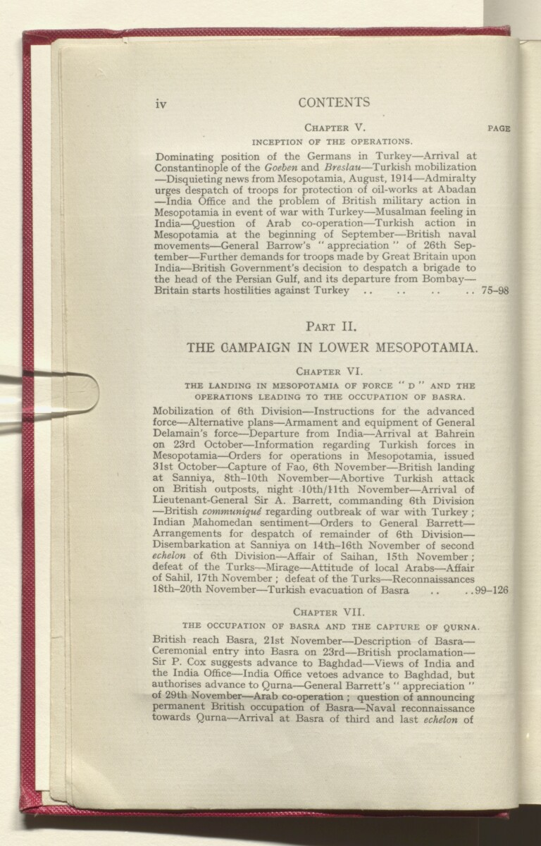'HISTORY OF THE GREAT WAR BASED ON OFFICIAL DOCUMENTS. THE CAMPAIGN IN MESOPOTAMIA 1914-1918. VOLUME I.' [6v] (17/454)