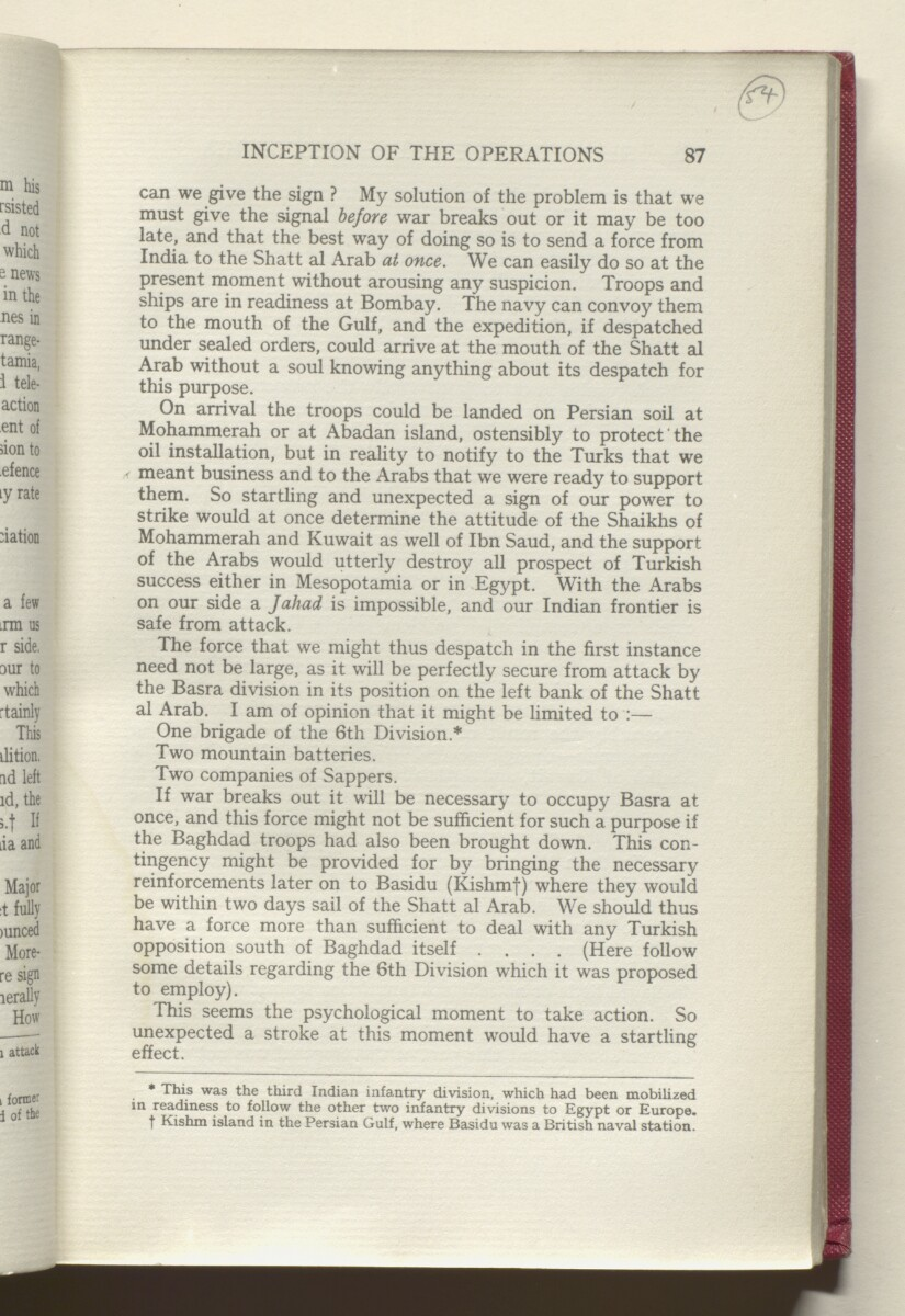 'HISTORY OF THE GREAT WAR BASED ON OFFICIAL DOCUMENTS. THE CAMPAIGN IN MESOPOTAMIA 1914-1918. VOLUME I.' [54r] (112/454)
