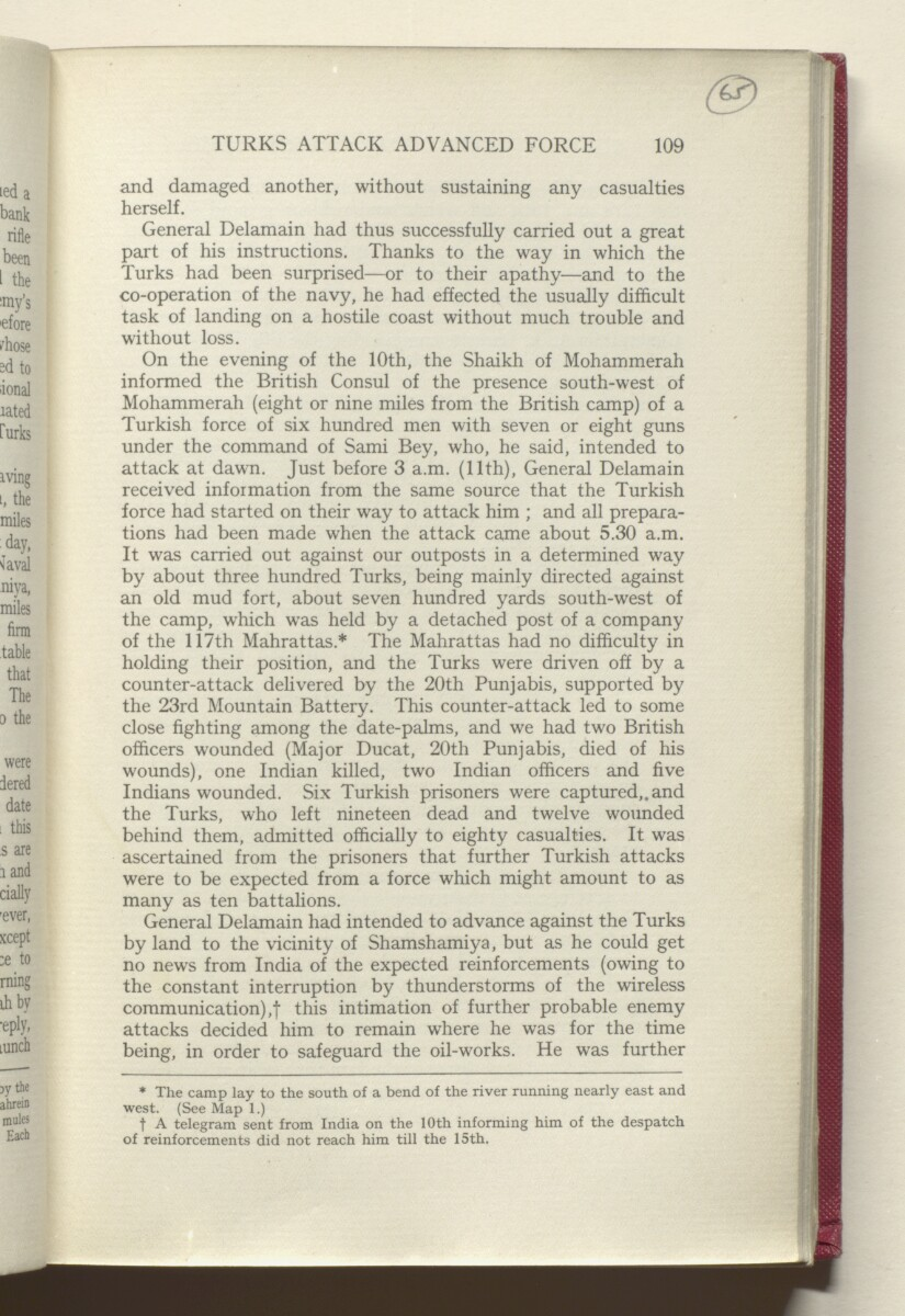 'HISTORY OF THE GREAT WAR BASED ON OFFICIAL DOCUMENTS. THE CAMPAIGN IN MESOPOTAMIA 1914-1918. VOLUME I.' [65r] (134/454)