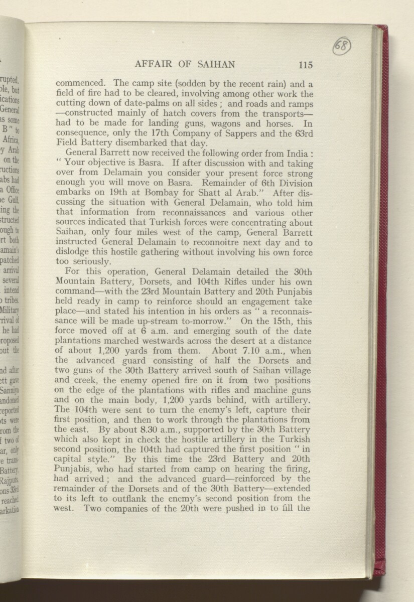 'HISTORY OF THE GREAT WAR BASED ON OFFICIAL DOCUMENTS. THE CAMPAIGN IN MESOPOTAMIA 1914-1918. VOLUME I.' [68r] (140/454)